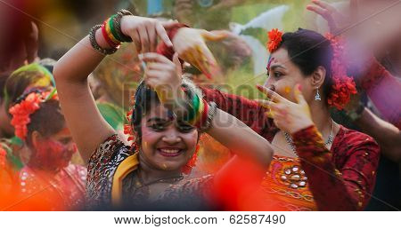Women Dancers Performing In Holi Celebration, India