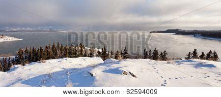 Steaming Lake Laberge Yukon Pano Before Freezing