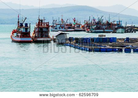 Cage Aquaculture Farming And Nice Fishing Boat .
