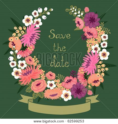 Vintage card with floral wreath. Save the date. Wedding invitation. Vector illustration. poster