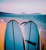 Retro Surfboards On Beach