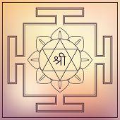 Yantra Hindu Goddess Lakshmi. Vector illustration . poster