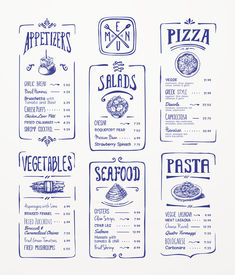 Menu template. Blue pen drawing. Appetizers, vegetables,salads, seafood, pizza, pasta.