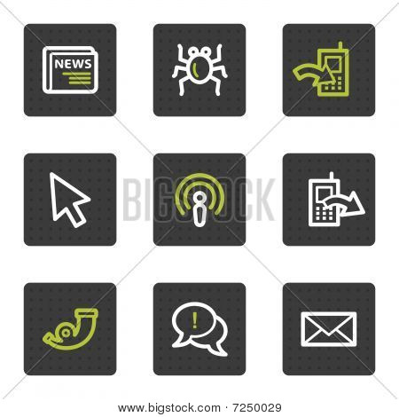 Internet web icons set 2, grey square buttons series