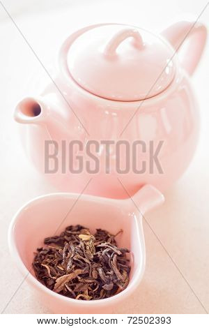 Oolong Tea In Ceramic Cup And Jar