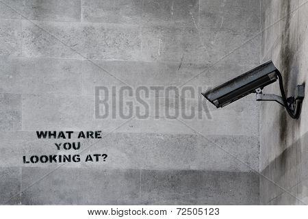LONDON, UK - SEPTEMBER 15th 2014: Banksy's 'CCTV' Graffiti in London