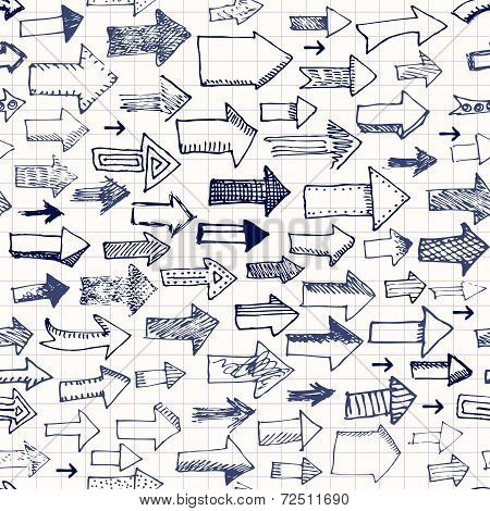 Seamless background of doodles arrows