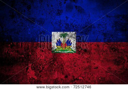 Grunge Flag Of Haiti With Capital In Port-au-prince