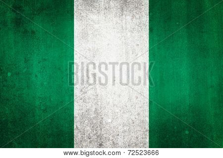 National Flag Of Nigeria. Grungy Effect.