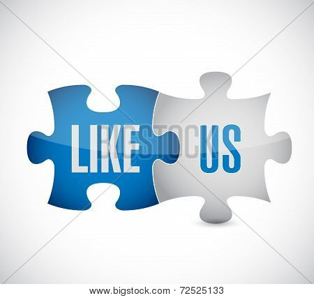 Like Us Puzzle Pieces Illustration Design