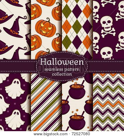 Halloween Seamless Background. Vector Set.