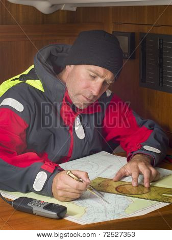 Sailor And Navigation Chart