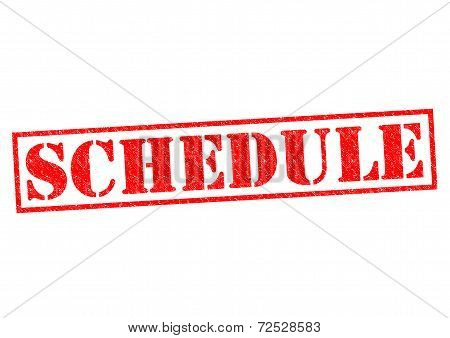 SCHEDULE red Rubber Stamp over a white background. poster