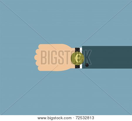 Illustration of Businessman wearing over sized watch with currency signs - Euro