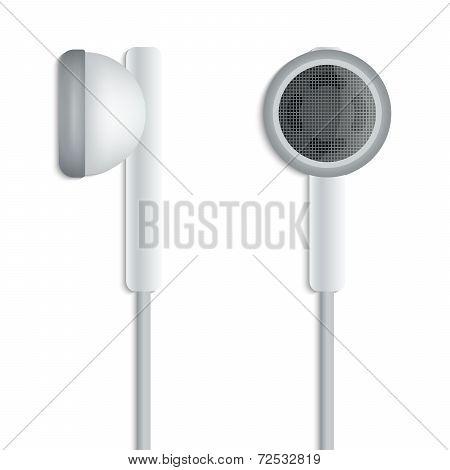 White plug stereo headphones on white background