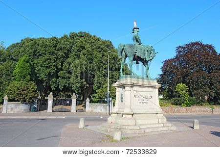 Statue Of Redvers Buller With Traffic Cone In Exeter, Uk