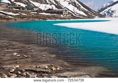 Lake Dudh Pokhari and village Gokyo. Trek to Everest base camp. Himalayas. Nepal poster