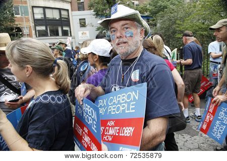 Marcher with sign & make up