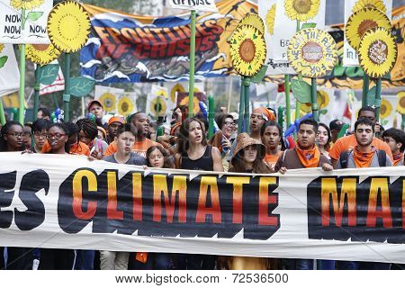 Climate march banner