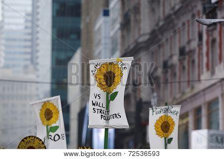 Flower signs along 42nd Street