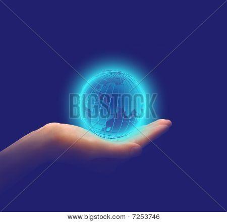 Glowing Earth In Hands