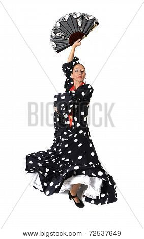 Spanish Woman Dancing Sevillanas Wearing Fan And Typical Folk Black With White Dots Dress