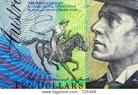 Detail of the Australian ten dollar note, featuring Banjo Paterson, bush poet, and his character Clancy of the Overflow poster