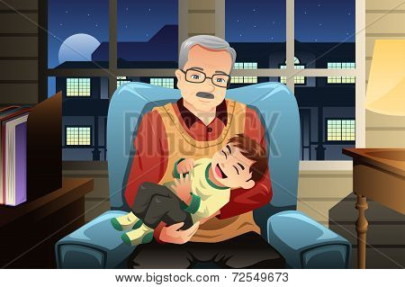 Grandfather Holding His Grandson