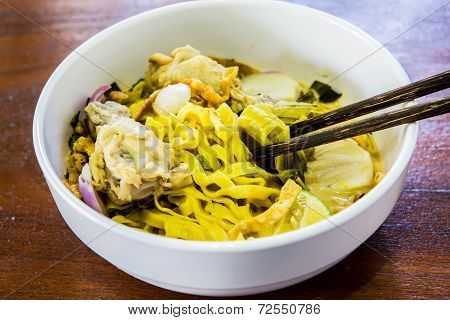 Thai Noodles Or Kuaysoi, Isolated On White Background