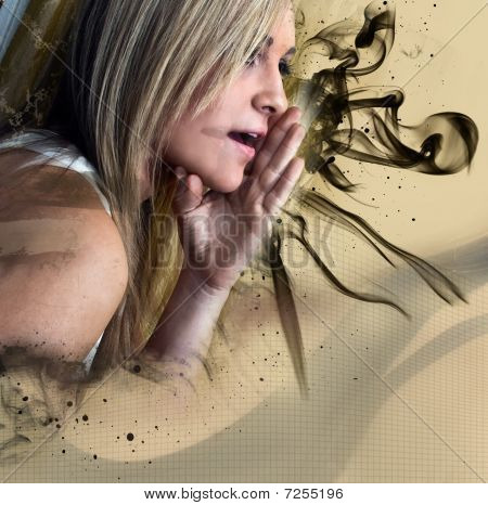 woman with smoke and splatter graphics