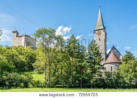 Gutenberg Castle And Church Of St. Nicholas In Balzers