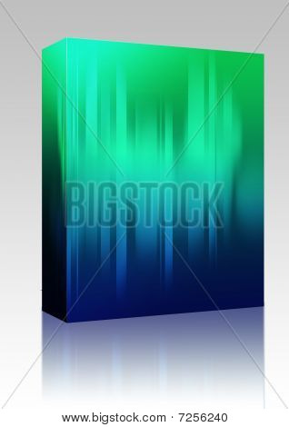Software package box Glowing streaks of light abstract background illustration poster