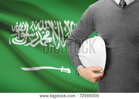 Architect With Flag On Background  - Saudi Arabia