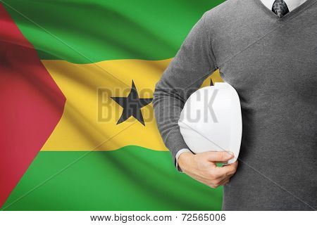Architect With Flag On Background  - Democratic Republic Of Sao Tome And Principe