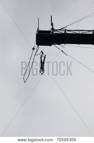 Bungee Jumper in Extreme Height