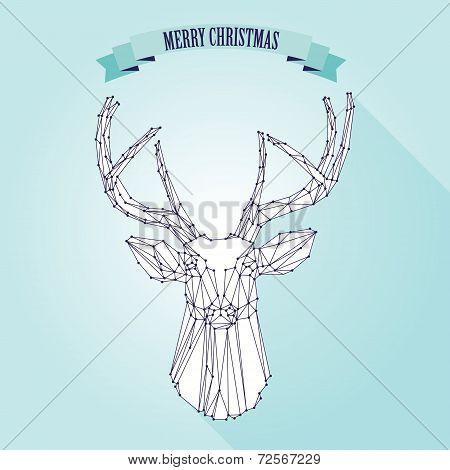 Christmas deer on light background