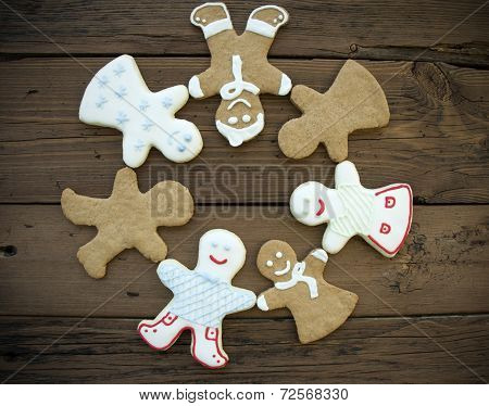 Happy Ginger Bread People Building A Circle