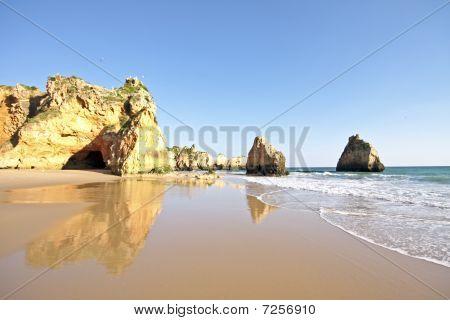 Natural rocks at Alvor in the Algarve in Portugal