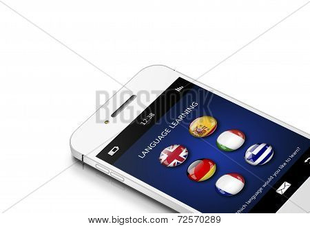 Mobile Phone With Language Learning Application Over White