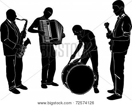 quartet of musicians drummer drummer and guitarist, saxophonist accordionist poster