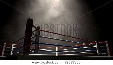 Boxing Ring Spotlit Dark