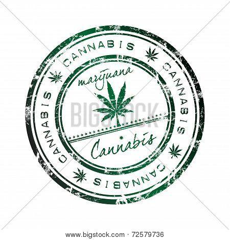 Cannabis grunge rubber stamp