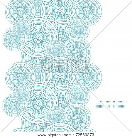 Vector doodle circle water texture vertical frame seamless pattern background