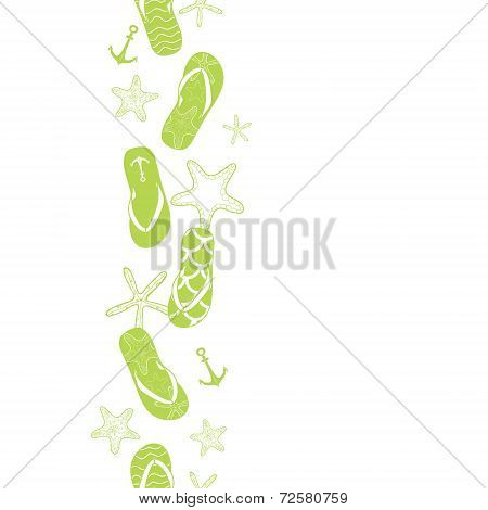 Vector nautical flip flops green vertical border seamless pattern background