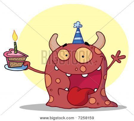 Monster mit Hörnern und Spots, trägt eine blaue Partyhut und halten ein Cupcake mit einer Kerze in A beleuchtet