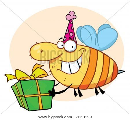 Grinning Bumbe Bee With A Stinger, Wearing A Pink Party Hat And Carrying A Green And Yellow Birthday Present To A Bday Party poster