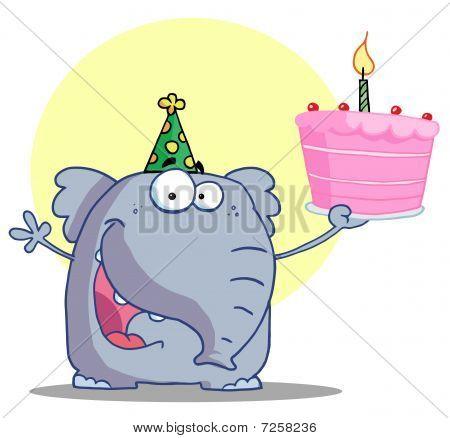 Party Animal, ein Elefant, tragen eine grüne Partei Hat und halten eine Geburtstagstorte mit einem beleuchteten Candl