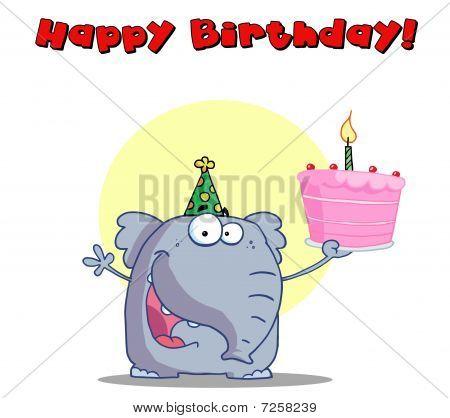 Happy Birthday Greeting eines Elefanten halten Kuchen