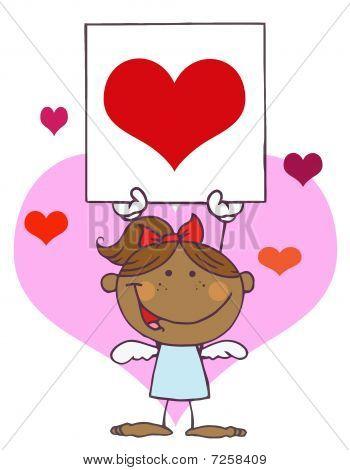 Cartoon Stick Afroamerikaner Cupid Mädchen mit Banner-Herzen