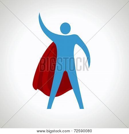 super hero cartoon silhouette icon. abstract